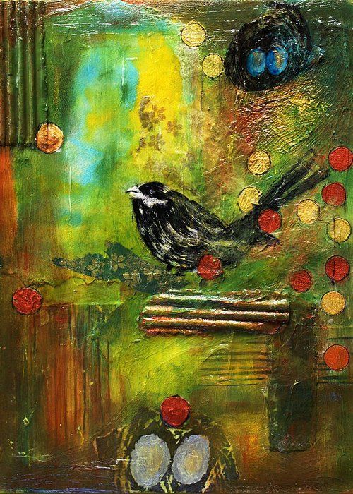 Mixed Media Painting Greeting Card featuring the mixed media Black Bird Come Home by Ishita Bandyo