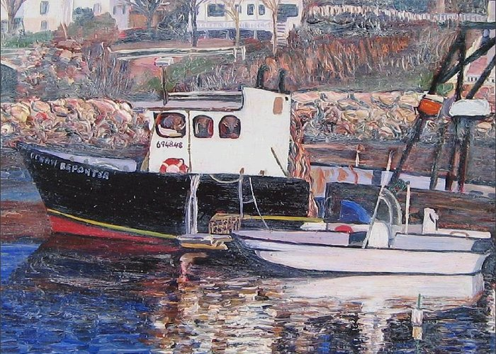 Boat Greeting Card featuring the painting Black Boat Reflections by Richard Nowak