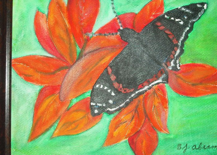 Abstract Greeting Card featuring the painting Black Butterfly by Betty Abrams