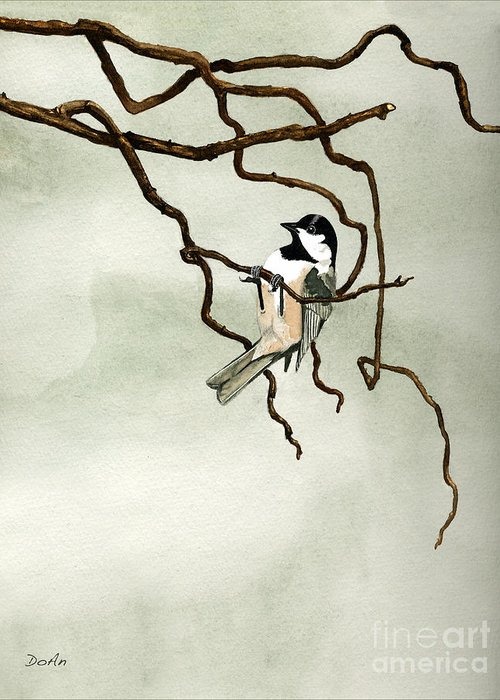 Black Capped Chickadee Greeting Card featuring the painting Black Capped Chickadee by Antony Galbraith