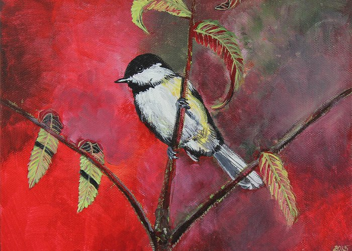 Chickadee Greeting Card featuring the painting Black Capped Chickadee by Laura Wilson