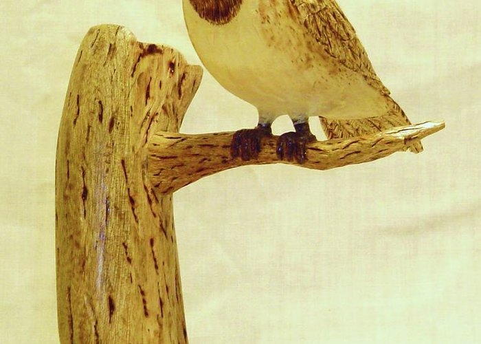 Woodcarving Greeting Card featuring the sculpture Black-capped Chickadee by Russell Ellingsworth