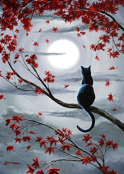 Surreal Cat Landscape Greeting Cards
