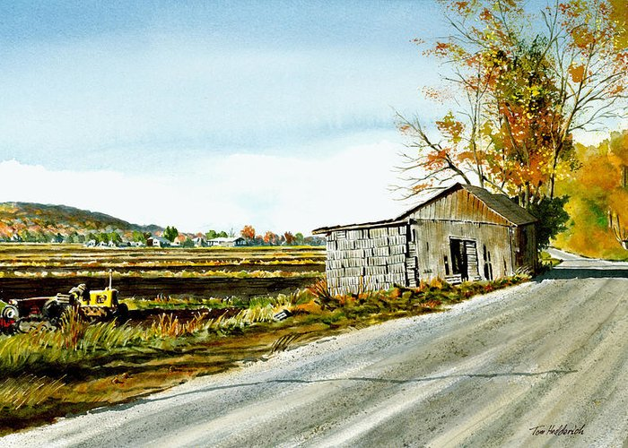 Watercolor Greeting Card featuring the painting Black Dirt Morning by Tom Hedderich