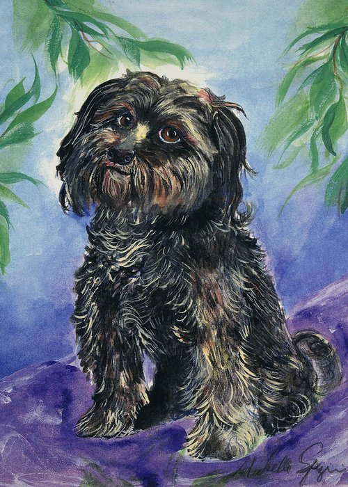 Pet Portraits Greeting Card featuring the painting Black Dog by Michelle Spiziri