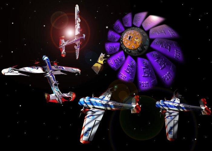 Scifi Greeting Card featuring the digital art Black Dwarf by Charles Stuart