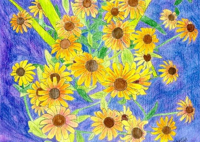 Watercolor Greeting Card featuring the digital art Black Eyed Susan by Margie Byrne