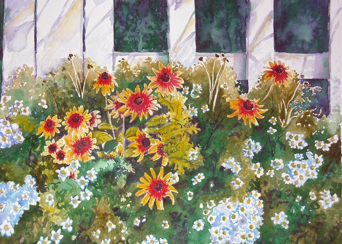 Black-eyed Susans Greeting Card featuring the painting Black-eyed Susans by Michael Prout