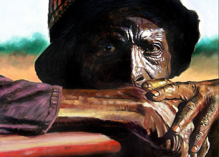 Black Farmer Greeting Card featuring the painting Black Farmer by John Lautermilch