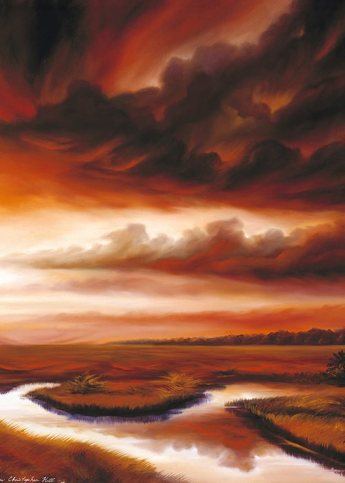 Contemporary Greeting Card featuring the painting Black Fire by James Christopher Hill