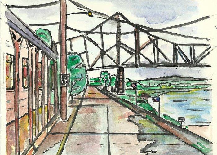 Mississippi Rvier Greeting Card featuring the painting Black Hawk Bridge by Matt Gaudian