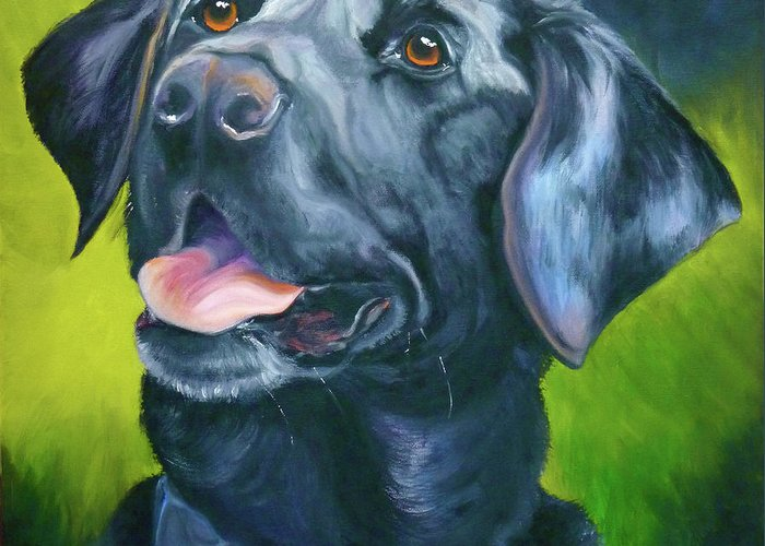 Labrador Retriever Greeting Card featuring the painting Black Lab Forever by Susan A Becker