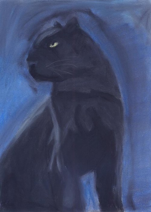 Cat Greeting Card featuring the mixed media Black Leopard by Caitlin Pennington