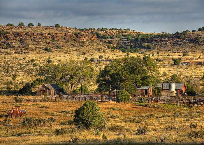 Black Mesa Greeting Card featuring the photograph Black Mesa Ranch by Charles Warren