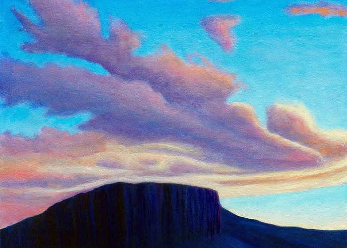 Landscape Greeting Card featuring the painting Black Mesa Sunset by Brian Commerford