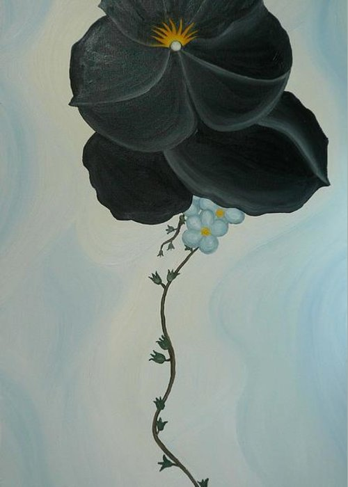 Marinella Owens Greeting Card featuring the painting Black Pansi by Marinella Owens