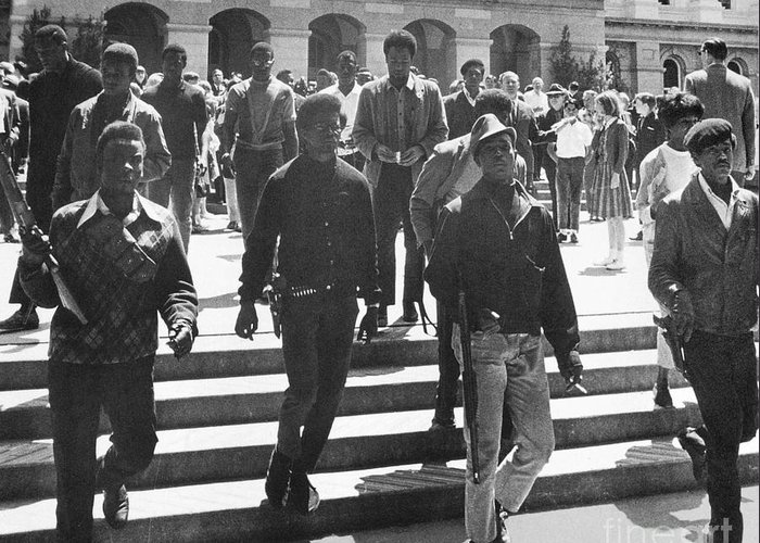 1967 Greeting Card featuring the photograph Black Panthers, 1967 by Granger