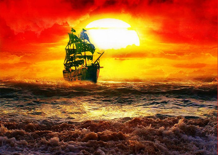 Pirates Greeting Card featuring the digital art Black Pearl by Koko Priyanto
