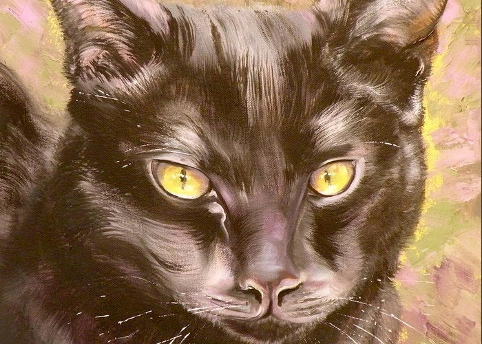 Cat Greeting Card featuring the painting Black Pearl by Susan A Becker