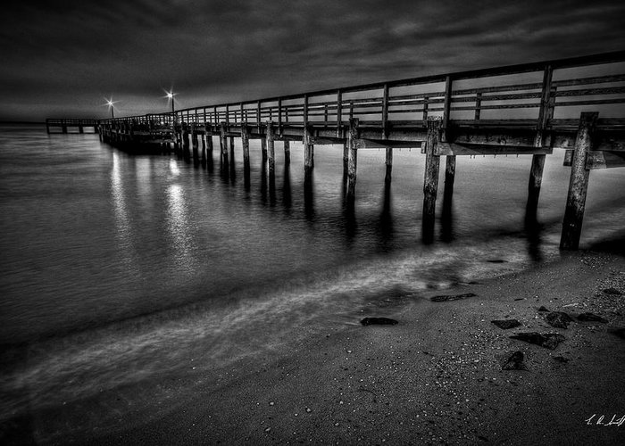 Water Greeting Card featuring the photograph Black Pier At Dawn by E R Smith