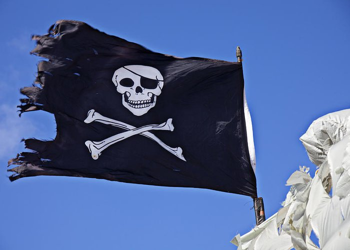 Pirate Flag Skull Cross Bones Greeting Card featuring the photograph Black Pirate Flag by Garry Gay