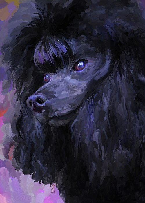 Black Greeting Card featuring the painting Black Poodle by Jai Johnson