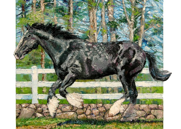 Horse Greeting Card featuring the painting Black Power by John Lautermilch