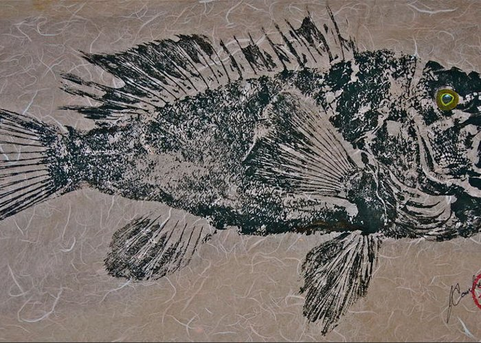 Gyotaku Greeting Card featuring the mixed media Black Sea Bass - Grouper - Rockfish by Jeffrey Canha