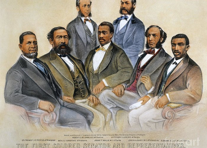 -acts & Administrations- Greeting Card featuring the photograph Black Senators, 1872 by Granger