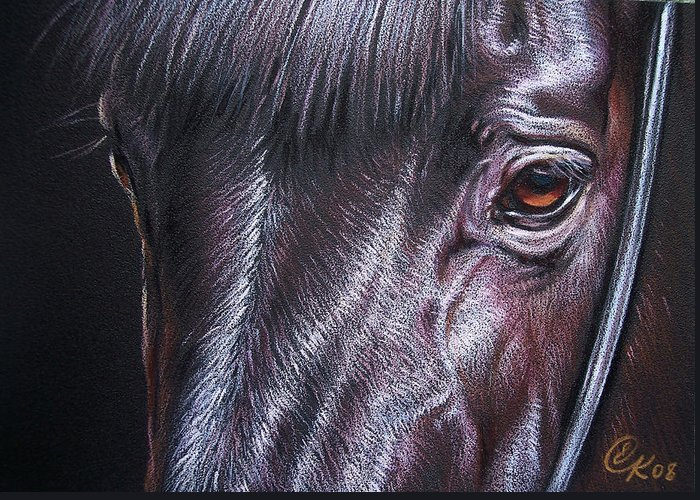 Horse Animal Portrait Equine Drawing Greeting Card featuring the drawing Black Stallion by Elena Kolotusha