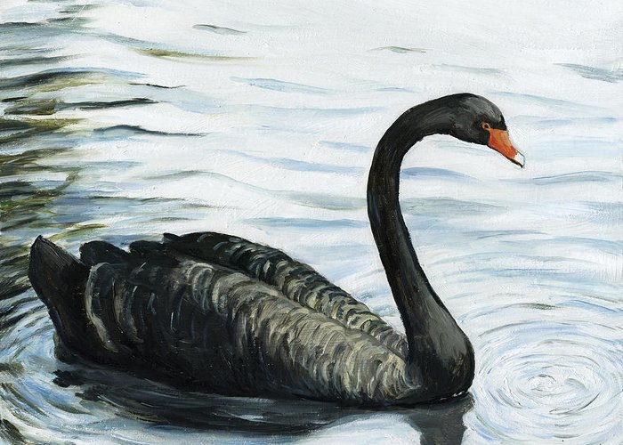 Black Swan Greeting Card featuring the painting Black Swan by Charlotte Yealey