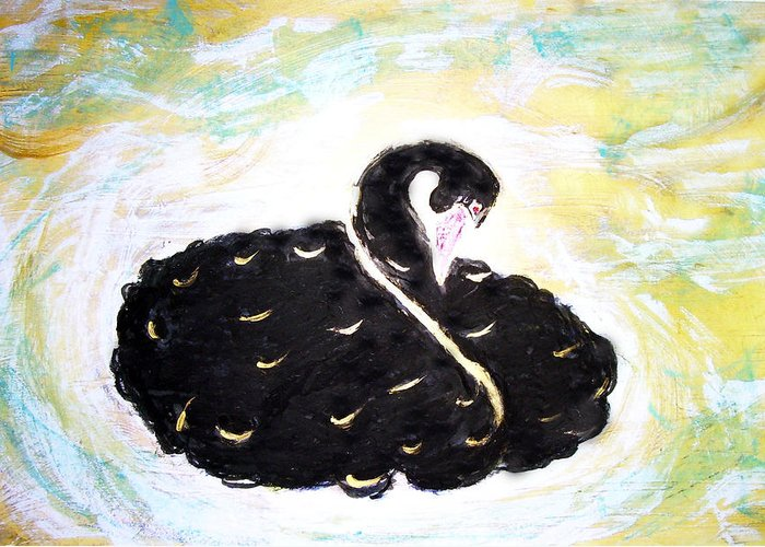 Swan Greeting Card featuring the painting Black Swan by Michela Akers