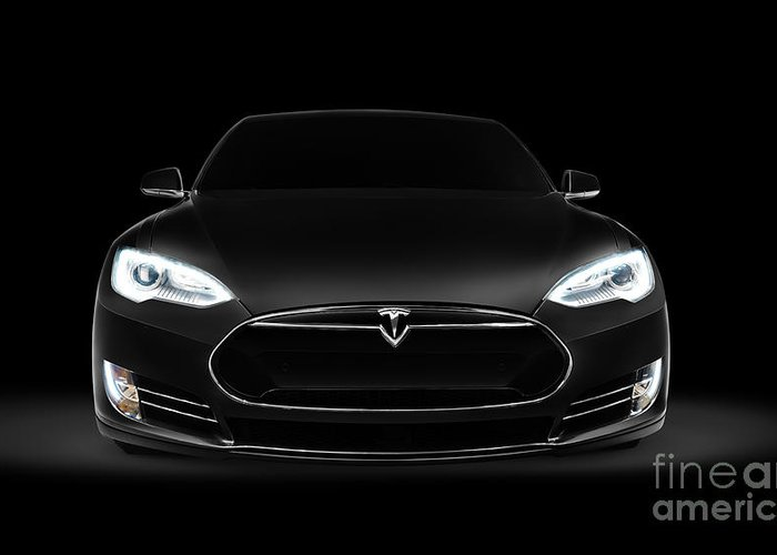 Tesla Greeting Card featuring the photograph Black Tesla Model S Luxury Electric Car Front View by Maxim Images Prints