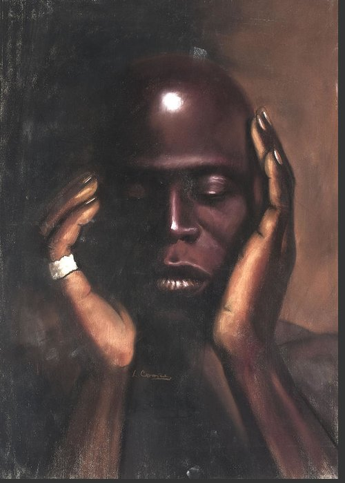 L Cooper Greeting Card featuring the pastel Black Thought by L Cooper