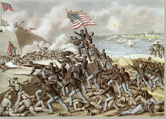 Black Troops Of The 54th Massachusetts Regiment During The Assault Of Fort Wagner Greeting Card featuring the painting Black Troops Of The Fifty Fourth Massachusetts Regiment During The Assault Of Fort Wagner by American School