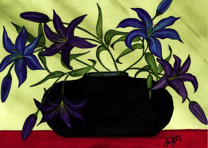 Black Vase Greeting Card featuring the painting Black Vase with Lilies by Stephanie Jolley