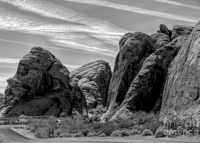 Valley Of Fire Greeting Card featuring the photograph Black White Valley Of Fire by Chuck Kuhn