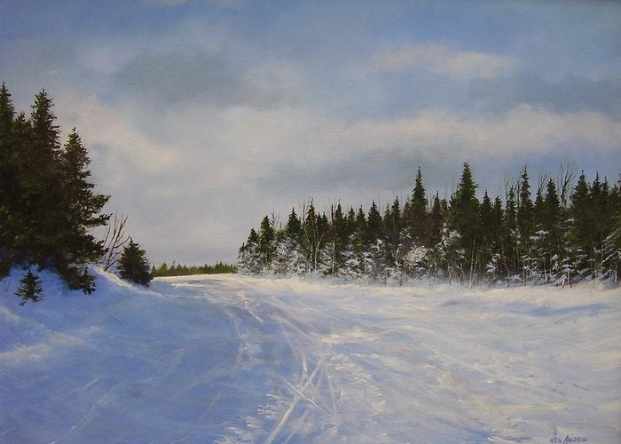 Ski. Snow Greeting Card featuring the painting Blackbear Ski Trail by Ken Ahlering