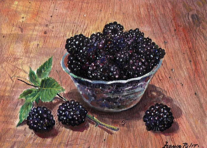 Watercolor Greeting Card featuring the painting Blackberries by Franco Puliti