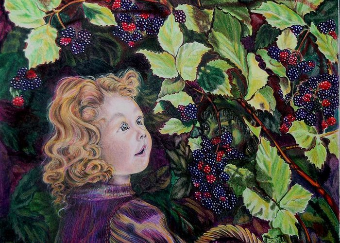 Blackberry Greeting Card featuring the drawing Blackberry Elf by Susan Moore