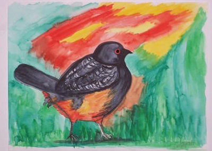 Bird By A Sunset Greeting Card featuring the painting Blackbird by Caroline Lifshey