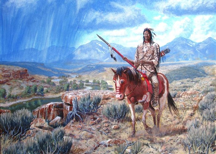 Blackfoot Warrior Greeting Card featuring the painting Blackfoot Warrior by Scott Robertson