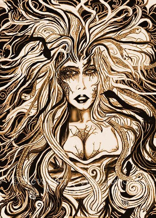 Mythology Greeting Card featuring the mixed media Blackmedusa-sepia by Steve Farr