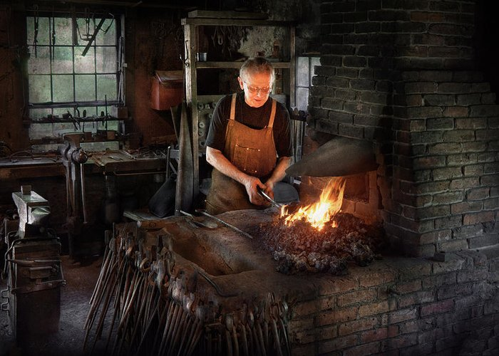 Blacksmith Greeting Card featuring the photograph Blacksmith - Blacksmiths Like It Hot by Mike Savad