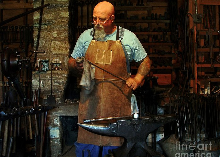 Man Greeting Card featuring the photograph Blacksmith by Kim Michaels