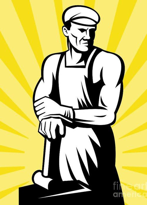 Blacksmith Greeting Card featuring the digital art Blacksmith Posing by Aloysius Patrimonio