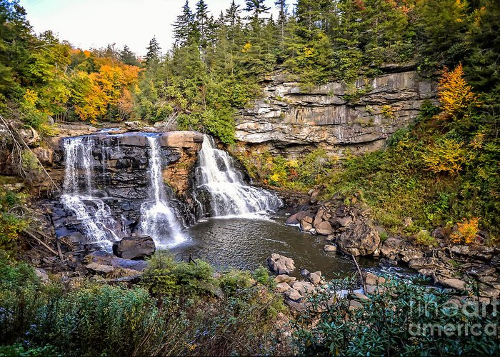 Blackwater Falls State Park Greeting Card featuring the photograph Blackwater Falls In Autumn3836c by Cynthia Staley