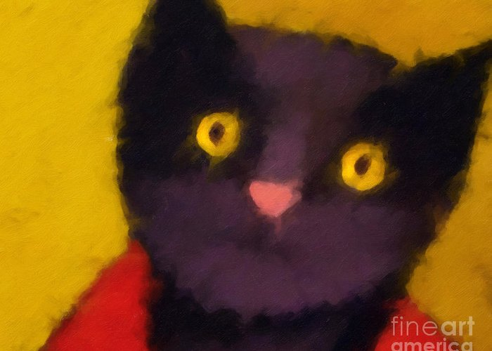 Cats Greeting Card featuring the painting Blacky by Lutz Baar
