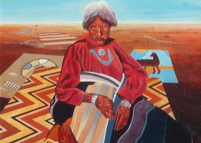 Old Indian Woman Greeting Card featuring the painting Blanket Weaver by Don Trout