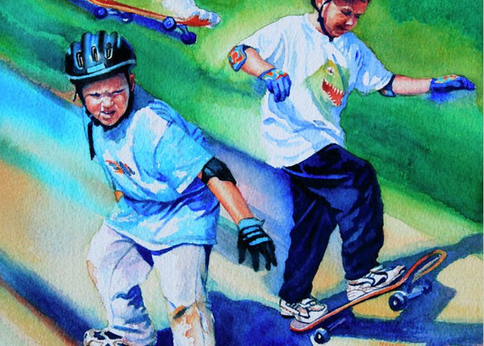 Skateboard Greeting Card featuring the painting Blasting Boarders by Hanne Lore Koehler